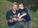 My son and grandson, catch of the day