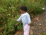 Grand-daughter with zinnias