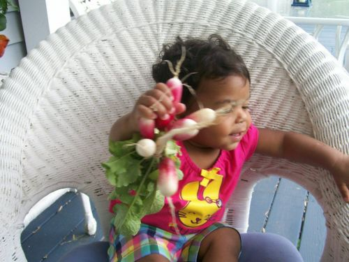 Grand-daughter with radishes