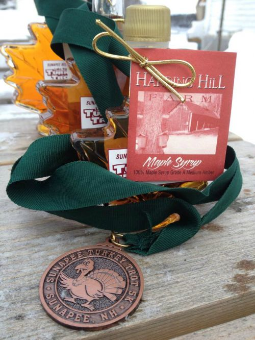 HHF maple syrup prizes at the Lake Sunapee Turkey Trot