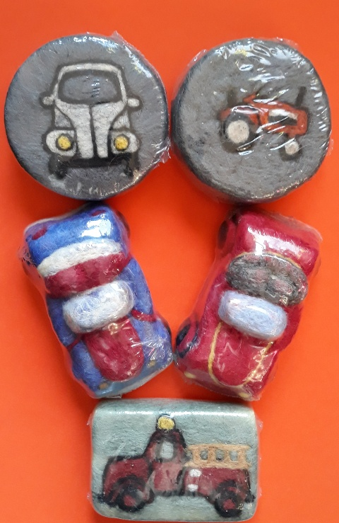 Cars Trucks and Tractors Needle Felted Soap
