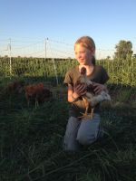 Susannah with Laying Hen