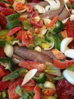 BBF Sausages, onions, peppers and tomatoes