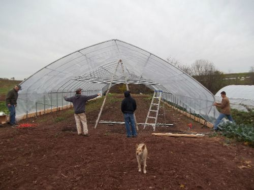 Second Layer of Covering on High Tunnel