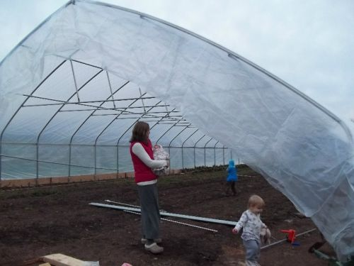 Em and Kids Inspecting New High Tunnel
