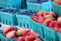 Everyone's favorites - Donut Peaches and Blueberries! - photo by permission of Karl Gary and Greenbelt Farmers Market