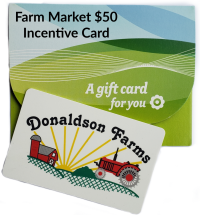 A Farm Market $50 Incentive Card