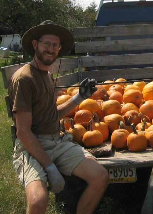 Farmer with pumpkins