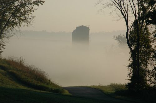 early morning fog on old silos