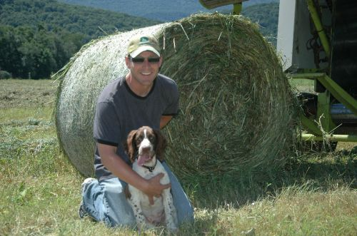 Chris and Quinn baling hay