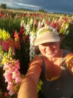 Linda in a field of Snapdragons