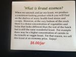 From time to time we sell Kraut Essence - we call it our economy kraut - great kraut teeming with probiotics!