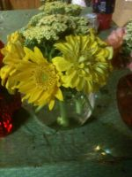 yellow zinnias, yarrow and small sunflowers