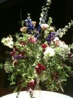 Delphiniums, dahlias, queen annes, sweet peas