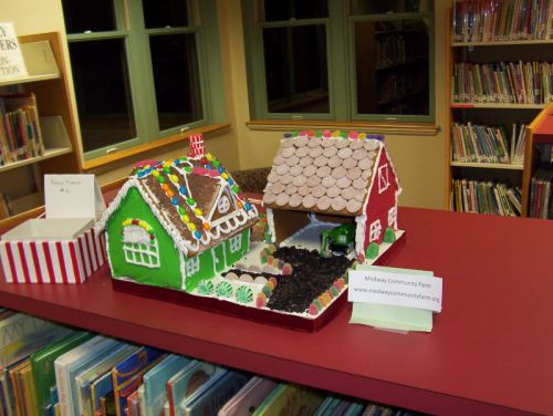 2009 Gingerbread Farm on display at the Medway Library.
