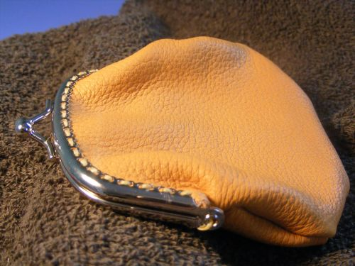 small purse with sew on frame-tan color