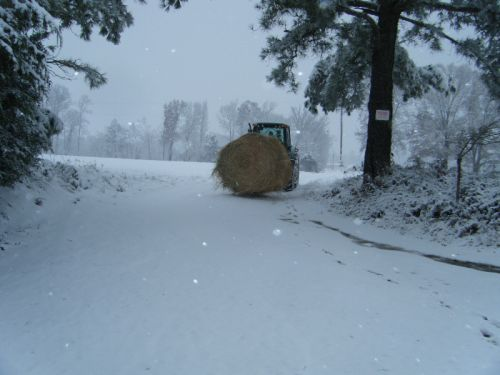 Delivering round bales