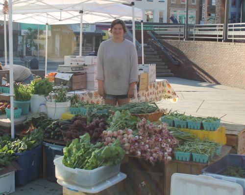 Rachel expertly displays our produce at our Saturday market in Adam's Morgan