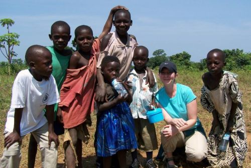 Kelli with children from the village of Nango