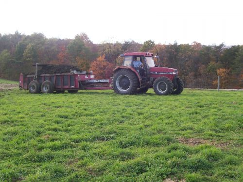 Spreading composted manure in the fall