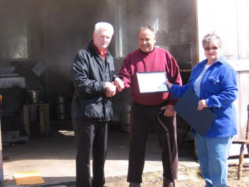 Award Ceremony for Kenny Gowan in 2009.  He's a long time sugarmaker in Barrington