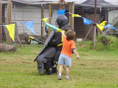 A brave young Page fights the Black Knight