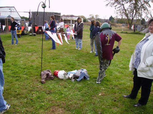 Children on a school field trip learn about Medieval Tournaments