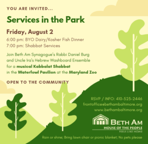 Services in the Park, BYO fish or Dairy Dinner @ Maryland Zoo