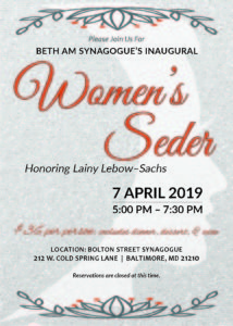 Women's Seder honoring Lainy Lebow-Sachs @ Bolton Street Synagogue