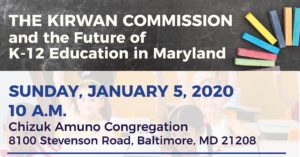 The Kirwan Commission and the Future of K-12 Education in MD @ Chizuk Amuno