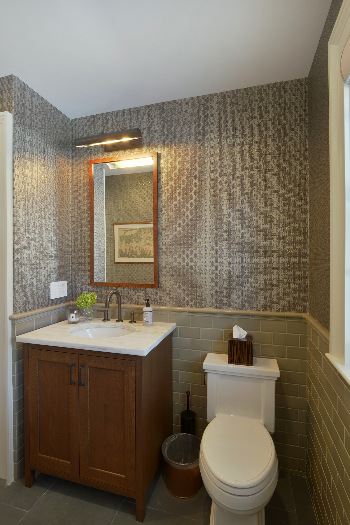 Transitional Style Powder Room Features Fully Custom Rift Cut White Oak  Vanity By Bilotta Cabinetry With