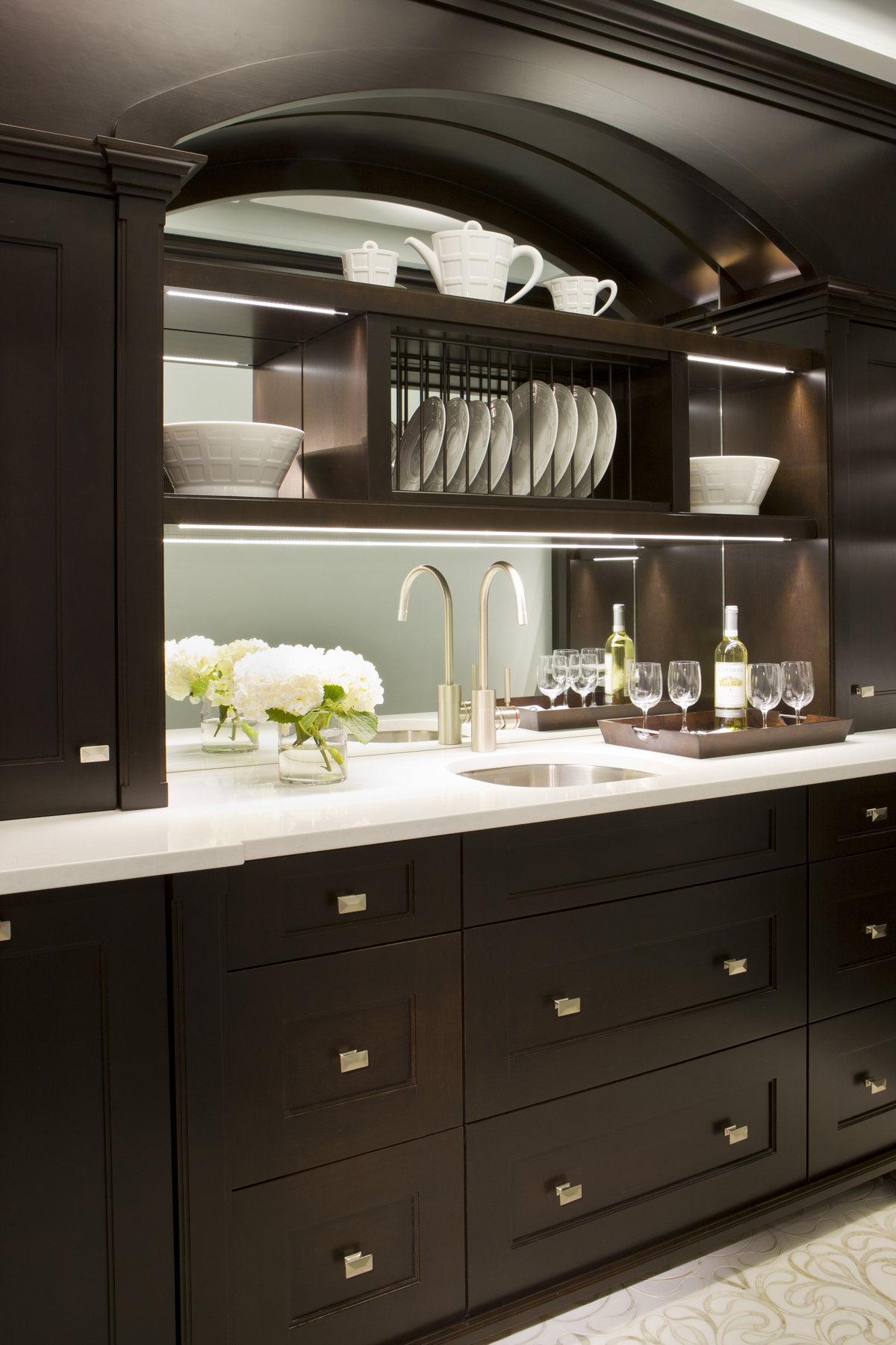 Butleru0027s Pantry Features Shaker Style, Frameless Fully Custom Rutt  Handcrafted Cabinetry In Walnut With A