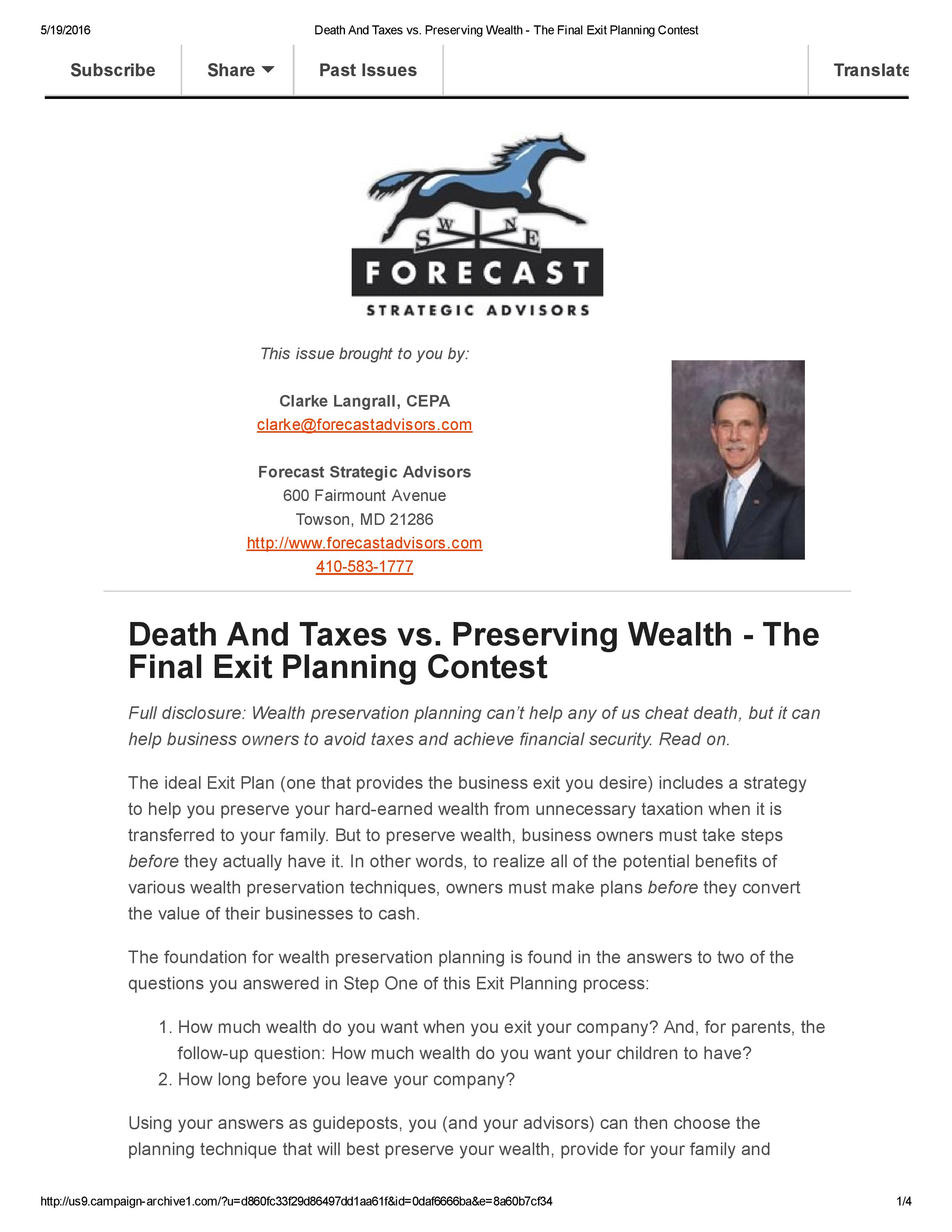 Death And Taxes vs. Preserving Wealth - The Final Exit Planning Contest-page-001
