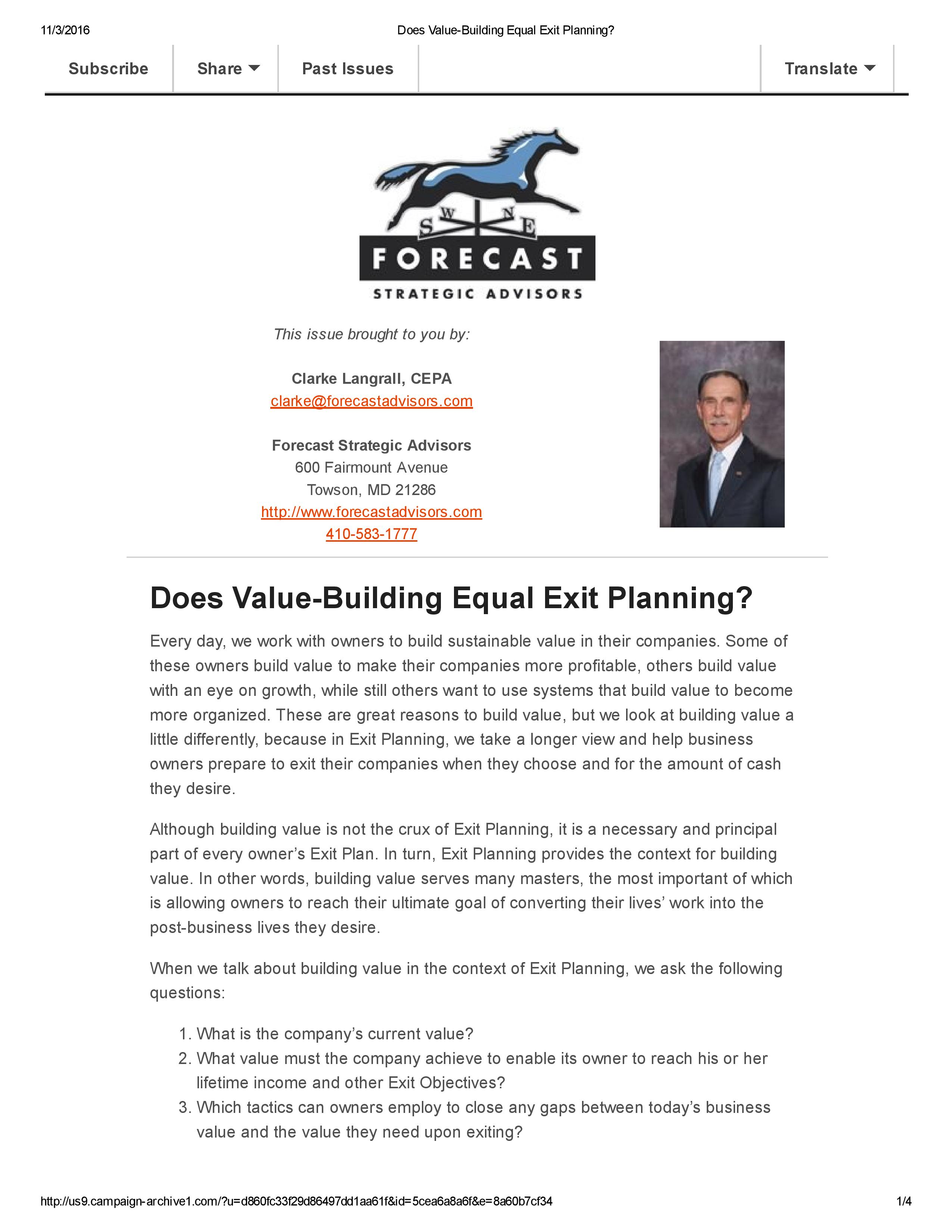 Does Value Building Equal Exit Planning Forecast Strategic Advisors Business Owner Planning Exit Planning