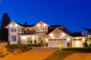 home with exterior lighting