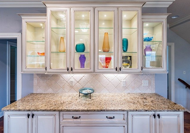 Elegant, brightly lit kitchen cabinets with under-cabinet lighting