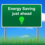 Energy Saving Just Ahead Sign