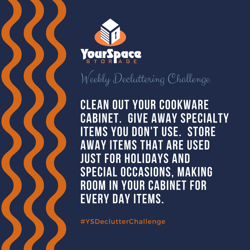 Drinkware cabinet decluttering challenge for YourSpace Storage