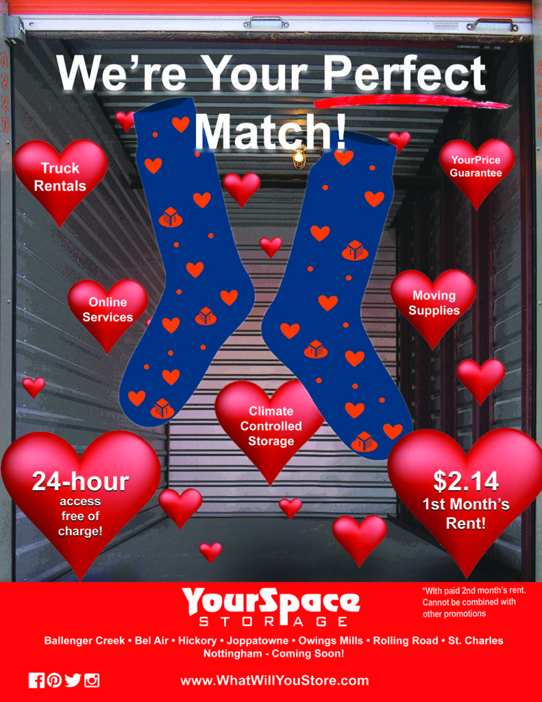 February 2018 Rent Promotion Flyer for YourSpace Storage - $2.14 First Month's Rent, We're Your Perfect Match!