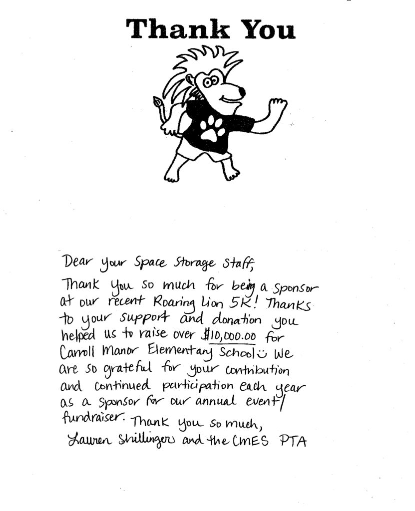 Thank You Note from Carroll Manor Elementary School PTA