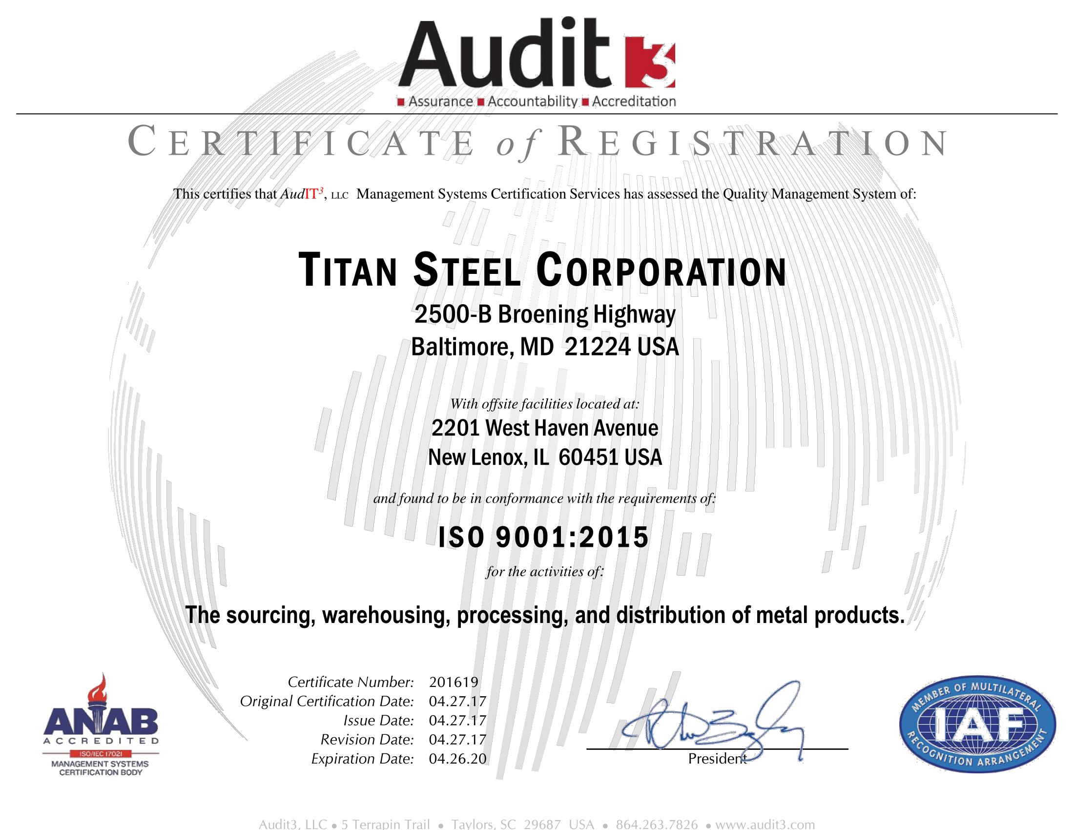 Titan Steel ISO Certificate