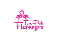 two pink flamingos