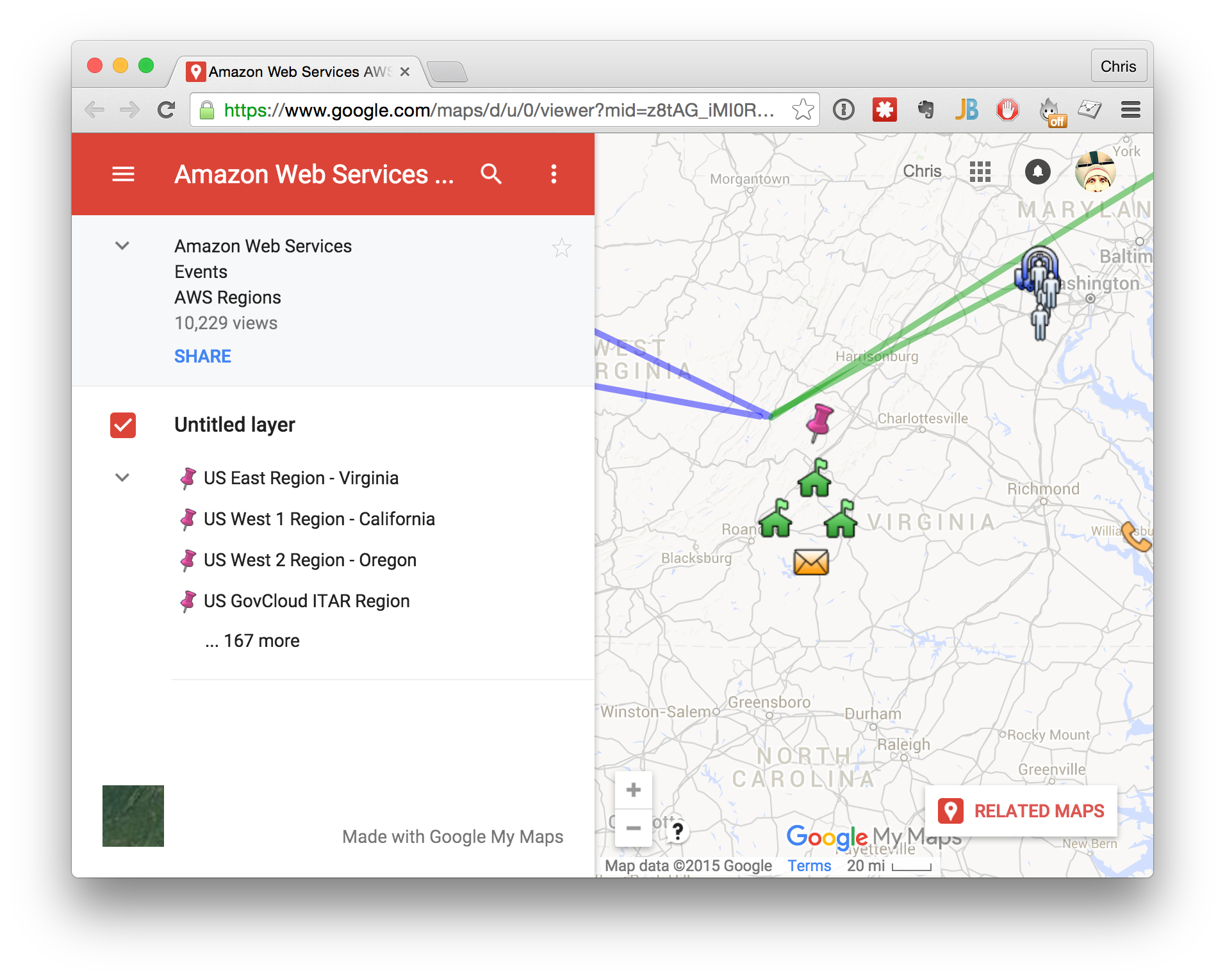 google maps of aws locations