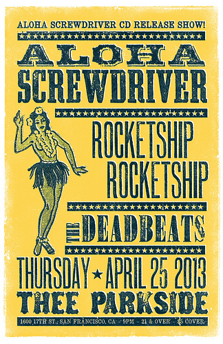 Aloha Screwdriver CD release show poster