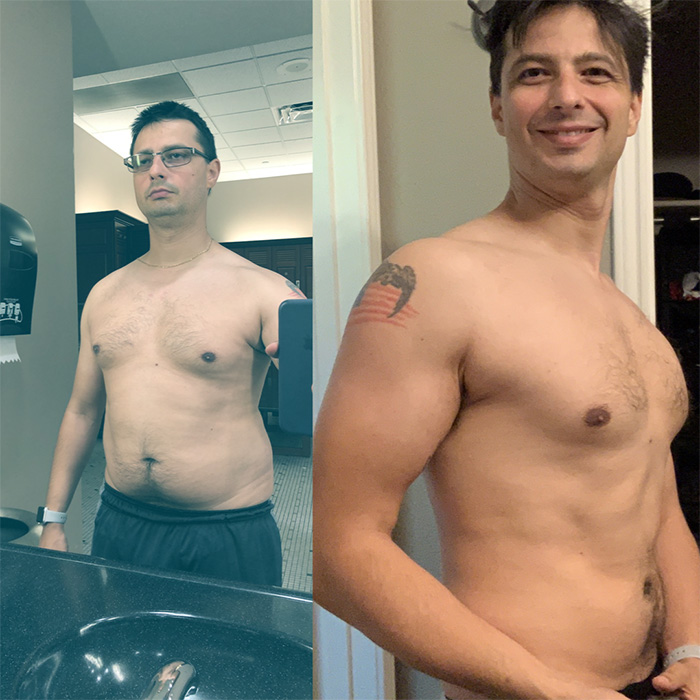 Image showing my progress qith veganfitness.com after one year.