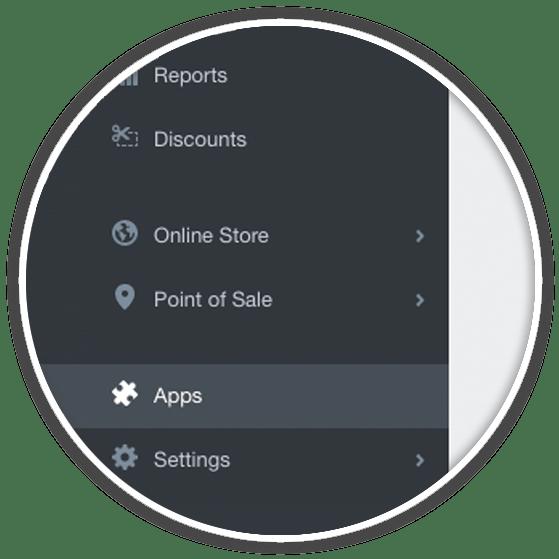 shopify left sidebar app menu item