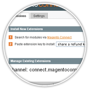 magento install extension admin interface