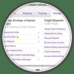 fedex view/pay bills dropdown menu item