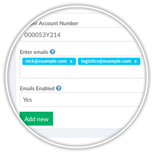 third-party shipper multiple email addresses for unused UPS labels