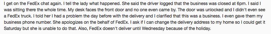 customer response to fedex chat